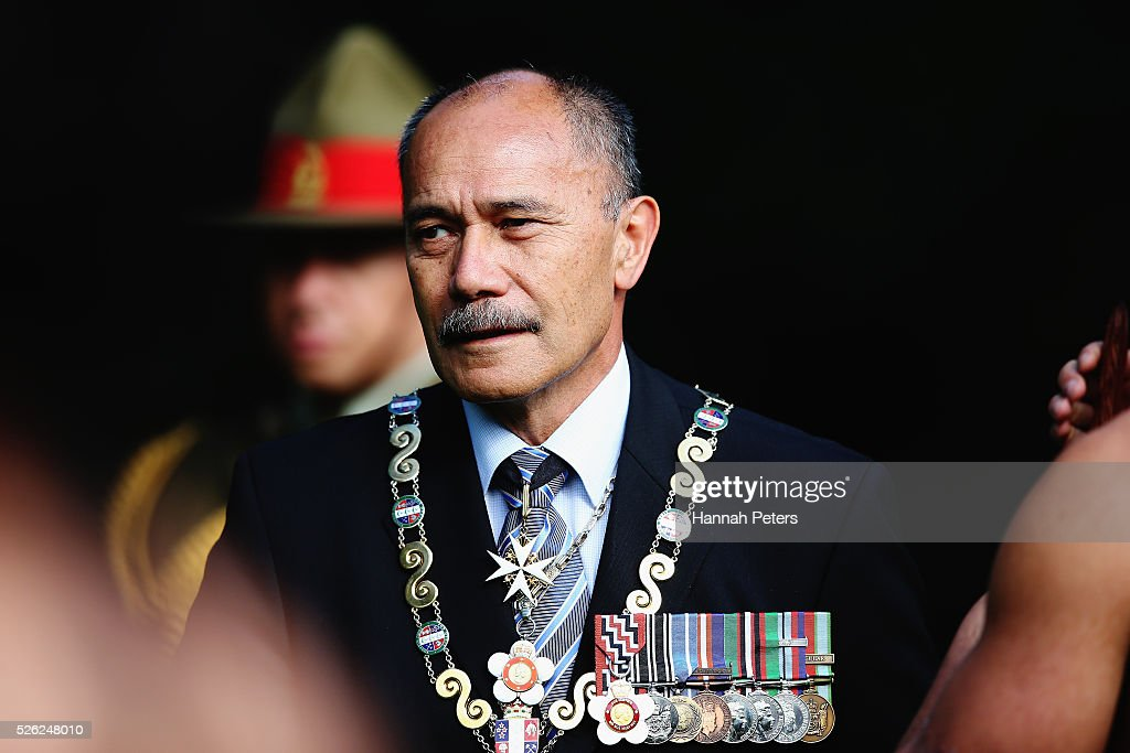 New Zealand Governor-General Sir Jerry Mateparae arrives to welcome Indian President Shri Pranab Mukherjee during a ceremony of welcome at Government House on April 30, 2016 in Auckland, New Zealand. It is the first time an Indian President has visited New Zealand.