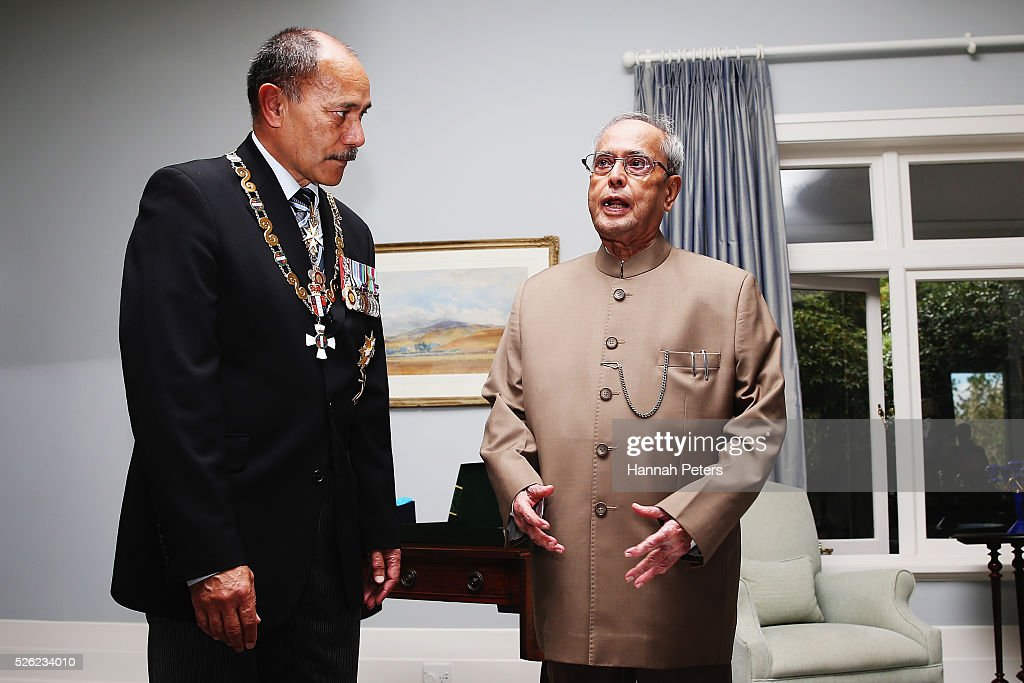 New Zealand Governor-General Sir Jerry Mateparae speaks with Indian President Shri <a gi-track='captionPersonalityLinkClicked' href=/galleries/search?phrase=Pranab+Mukherjee&family=editorial&specificpeople=565924 ng-click='$event.stopPropagation()'>Pranab Mukherjee</a> following a ceremony of welcome at Government House on April 30, 2016 in Auckland, New Zealand. It is the first time an Indian President has visited New Zealand.