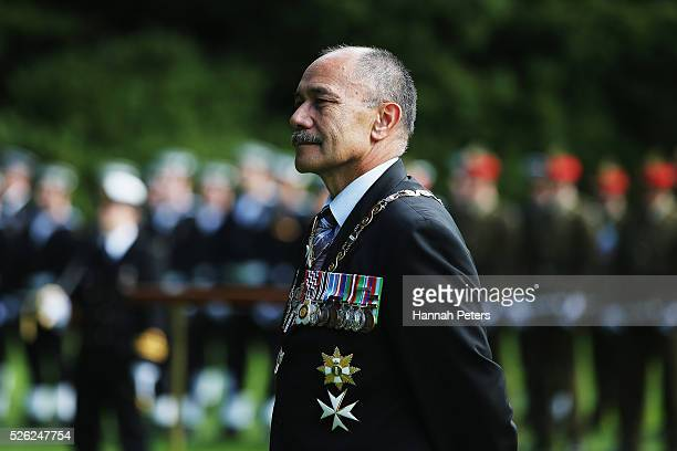 New Zealand GovernorGeneral Sir Jerry Mateparae waits to welcome Indian President Shri Pranab Mukherjee during a ceremony of welcome at Government...