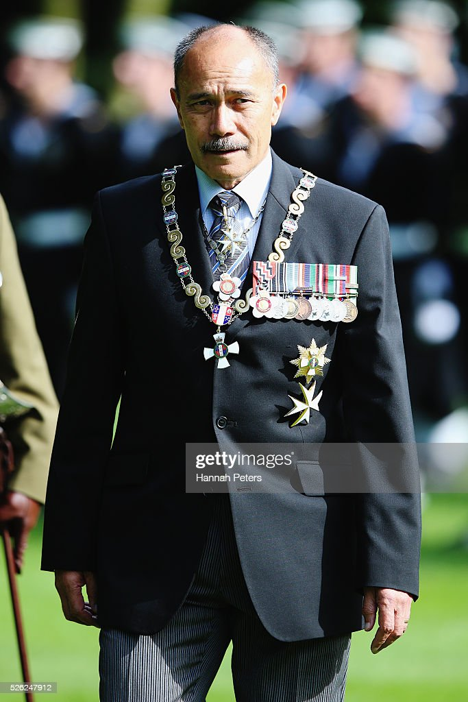 New Zealand Governor-General Sir Jerry Mateparae waits to welcome Indian President Shri Pranab Mukherjee during a ceremony of welcome at Government House on April 30, 2016 in Auckland, New Zealand. It is the first time an Indian President has visited New Zealand.