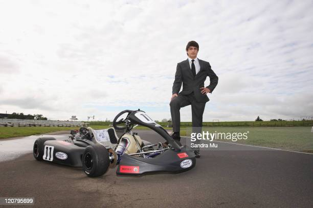 New Zealand GP3 driver Mitch Evans poses during a portrait session at Mt Wellington Kartclub on August 11 2011 in Auckland New Zealand