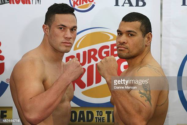 New Zealand Heavyweight boxer Joseph Parker faces off with Bowie Tupou during the weigh in for Saturday's bout on July 31 2015 in Invercargill New...