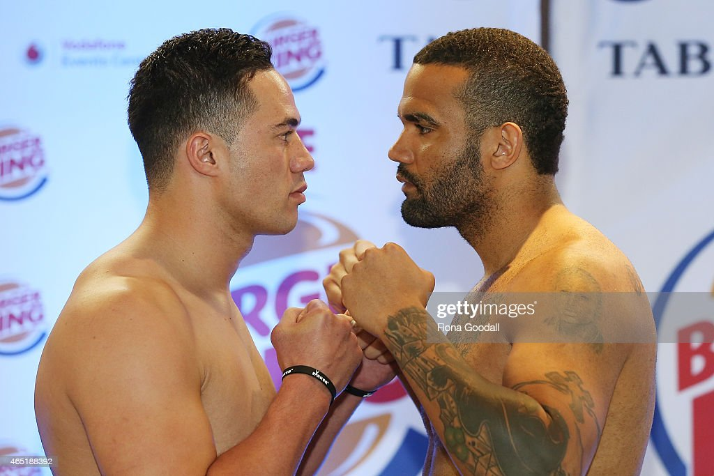 New Zealand Heavyweight Boxing Champion Joseph Parker and his opponent Jason Pettaway face off during the weigh in ahead of the road to the title...
