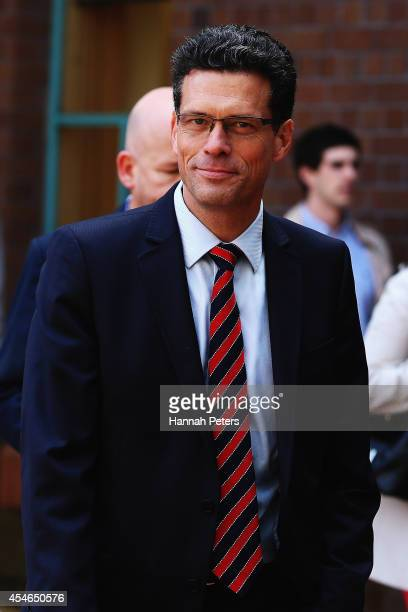 New Zealand Herald Editor in Chief Tim Murphy arrives at the High Court on September 5 2014 in Auckland New Zealand Whaleoil blogger Cameron Slater...