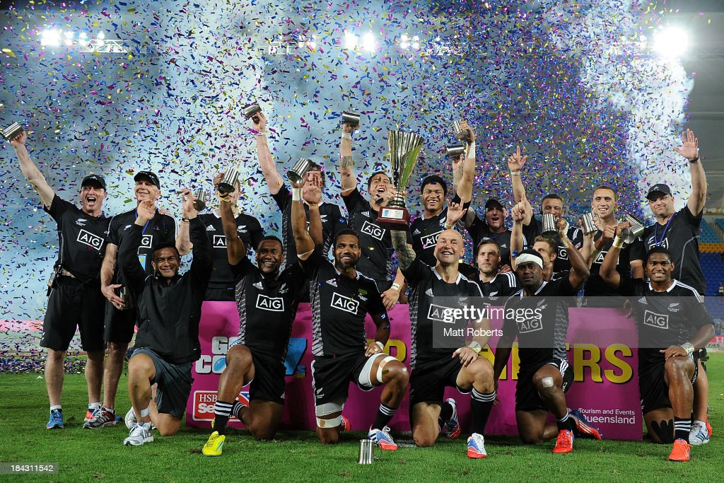 New Zealand hold up the winners trophy as they celebrate winning the Cup Final after defeating Australia during the Gold Coast Sevens at Skilled Stadium on October 13, 2013 on the Gold Coast, Australia.