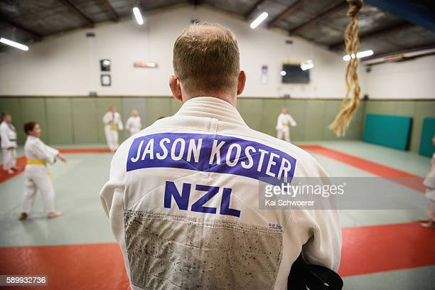 New Zealand Judo athlete Jason Koster looks on during a training session at Can Am Ju on August 15 2016 in Christchurch New Zealand Pierre de...