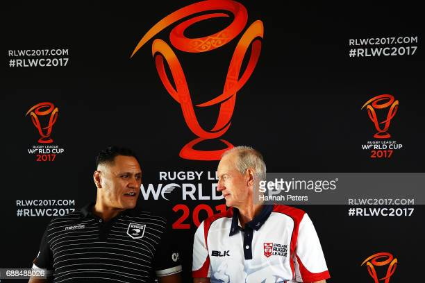 New Zealand Kiwis coach David Kidwell and England coach Wayne Bennett speak to the media during a Rugby League World Cup press conference at Mt Smart...
