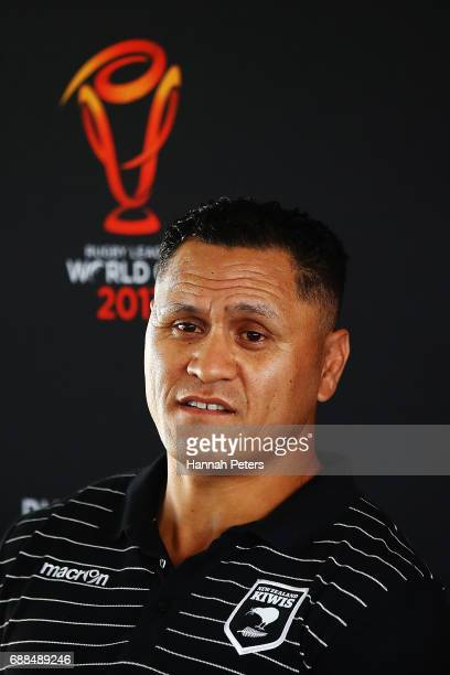 New Zealand Kiwis coach David Kidwell speaks to the media during a Rugby League World Cup press conference at Mt Smart Stadium on May 26 2017 in...