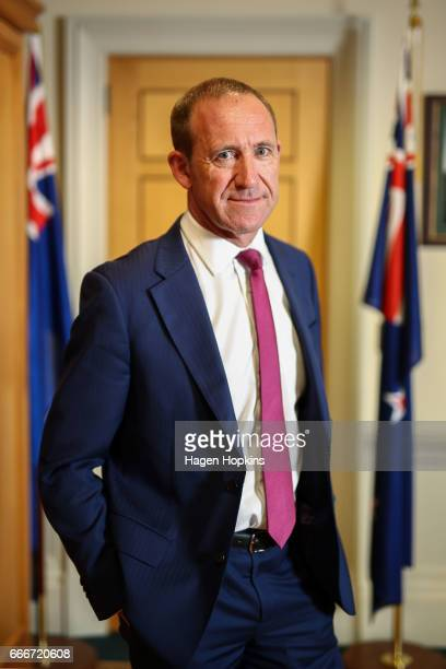 New Zealand Labour Party leader Andrew Little poses for portraits at Parliament on April 10 2017 in Wellington New Zealand