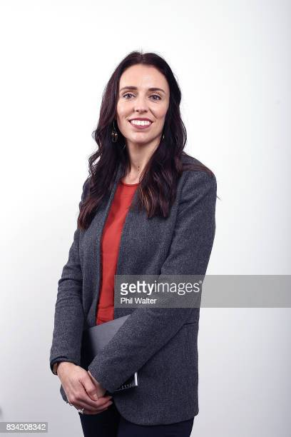 New Zealand Labour Party leader Jacinda Ardern poses for a portrait at her Mt Albert electorate office on August 18 2017 in Auckland New Zealand