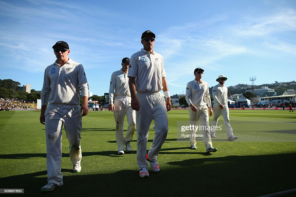 New Zealand leave the ground at stumps during day two of the Test match between New Zealand and Australia at Basin Reserve on February 13, 2016 in Wellington, New Zealand.