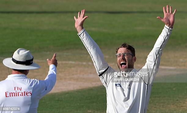 New Zealand leftarm spinner Daniel Vettori makes a successful appeal for a leg before wicket decision against Pakistani batsman Mohammad Talha during...