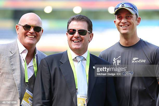 New Zealand legend Martin Crowe poses with former Australian Captain Mark Taylor and New Zealand player Shane Bond reacts during the 2015 ICC Cricket...