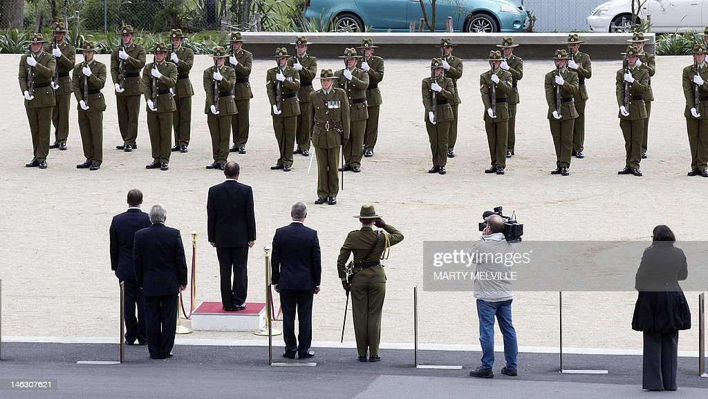 New Zealand Lieutenant General Jerry Mateparae receives the honour guard during a ceremony at the National War Memorial in Wellington on June 14, 2012. It is 70 years since the large-scale arrival of US forces in New Zealand in June 1942, following the entry of the US into the Second World War. AFP PHOTO / MARTY MELVILLE