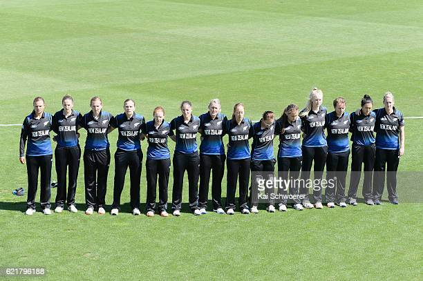 New Zealand line up for their national anthem prior to the Women's One Day International match between the New Zealand White Ferns and Pakistan on...