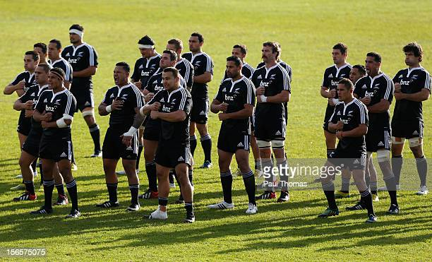 New Zealand Maori All Blacks perform the Haka before the RFU Championship XV and New Zealand Maori All Blacks rugby match at Castle Park on November...