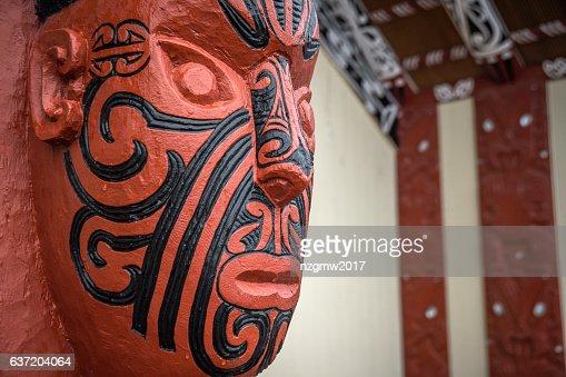 New Zealand maori carving : Stock Photo