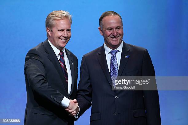 New Zealand Minister of Trade Todd McClay with New Zealand Prime Minister John Key after signing the Trans Pacific Partnership at Sky City on...