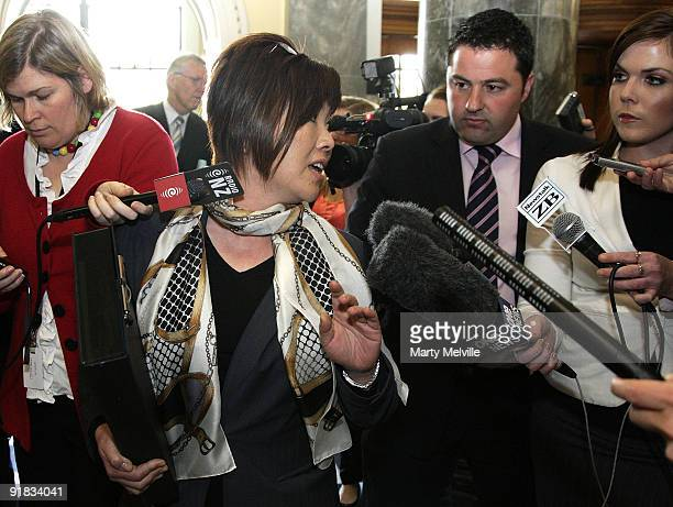 New Zealand National Party MP Melissa Lee is confronted by the media on her way to question time at Parliament on October 13 2009 in Wellington New...