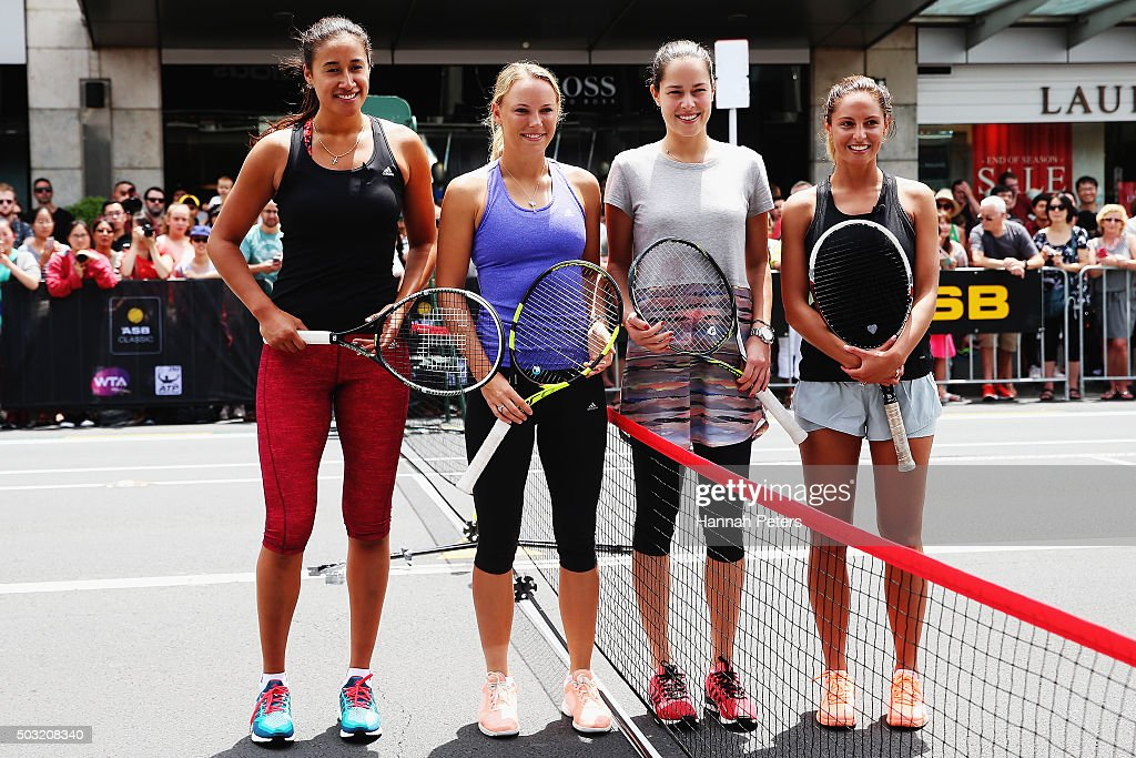 New Zealand netball player Maria Tutaia, Caroline Wozniacki, Ana Ivanovic and TV presenter Makere Bradnam pose for a photo after taking part in an exhibition tennis match withon January 3, 2016 in Auckland, New Zealand. The ASB Classic starts on Monday 4, 2016.