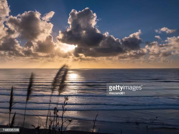 New Zealand, North Island, Raglan, Ngarunui Beach at sunset