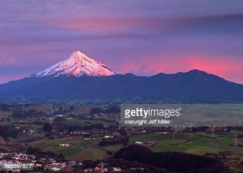 New Zealand, North Island, Sunset on Mt Taranaki