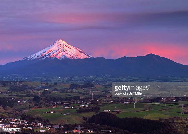 New Zealand, North Island, Sunset on Mt Taranaki