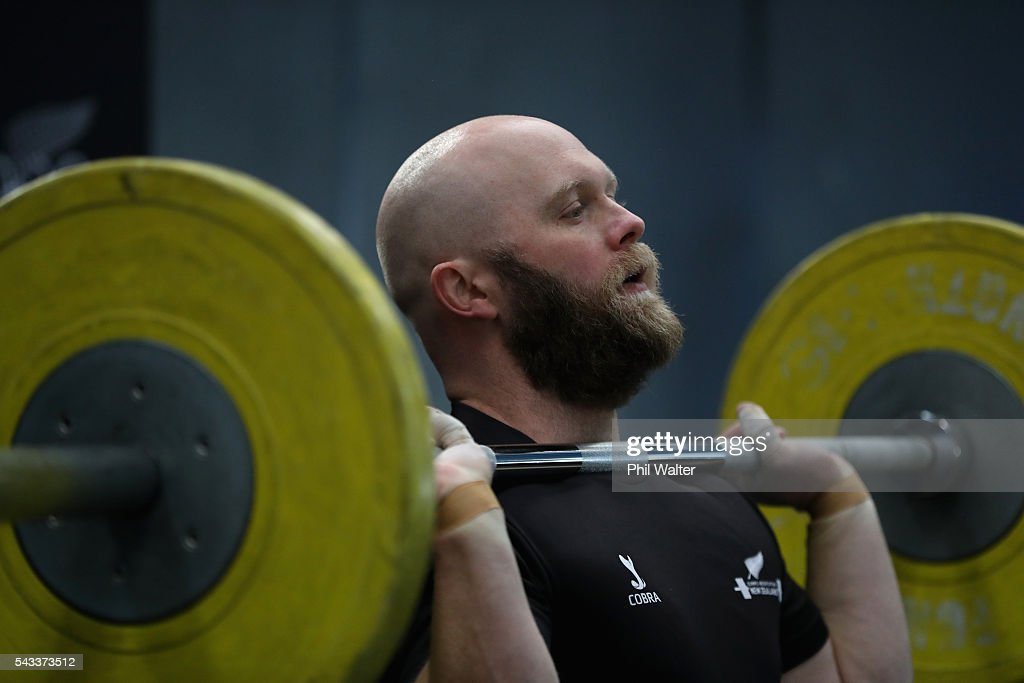 New Zealand Olympic Weightlifter Richie Patterson lifts weights following the New Zealand Olympic Weightlifting Team Selection announcement at Functional Strength HQ on June 28, 2016 in Auckland, New Zealand.