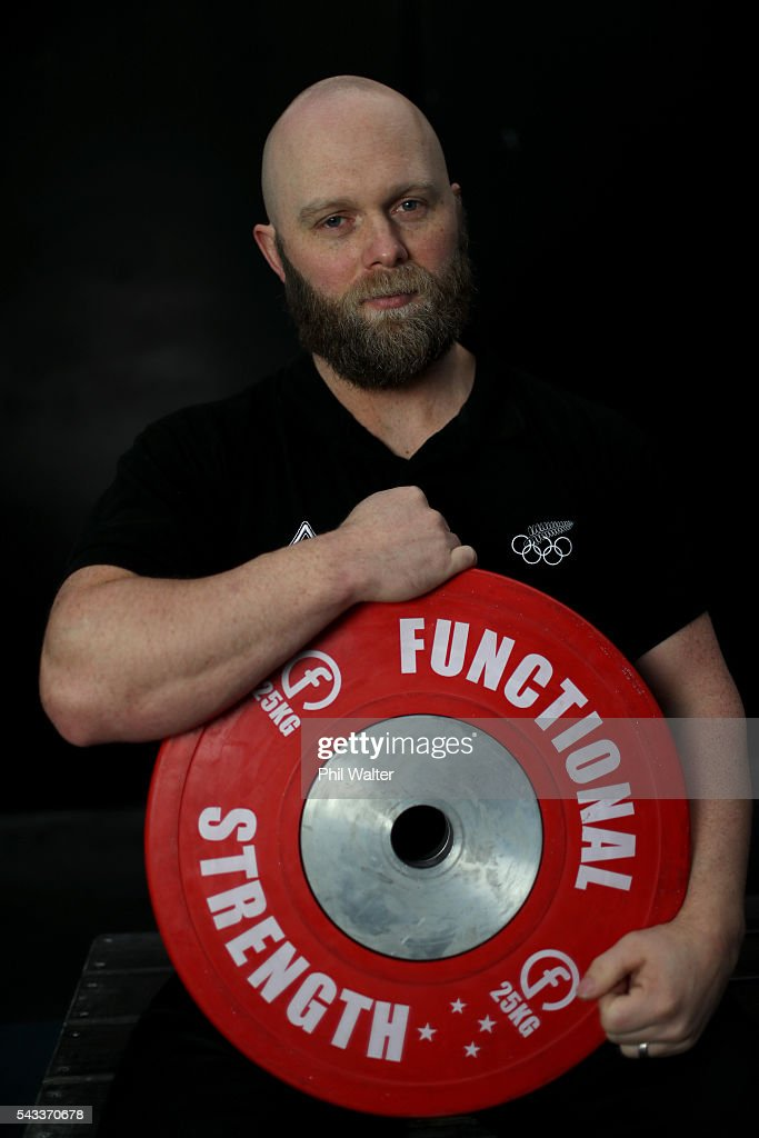New Zealand Olympic Weightlifter Richie Patterson poses for a portrait before the New Zealand Olympic Weightlifting Team Selection announcement at Functional Strength HQ on June 28, 2016 in Auckland, New Zealand.
