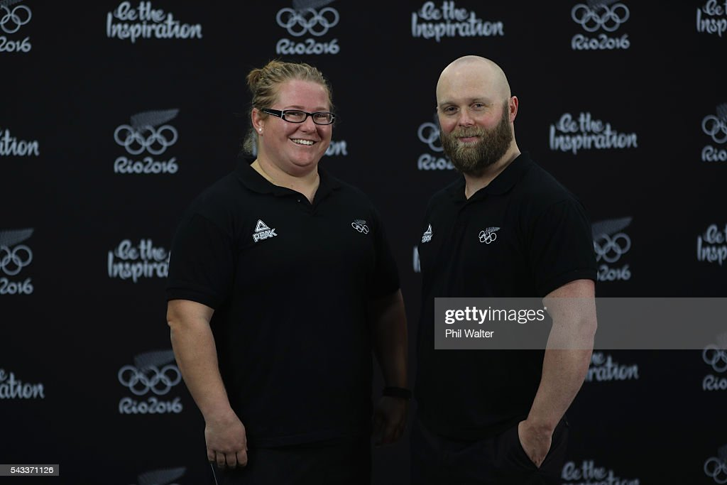 New Zealand Olympic Weightlifter Tracey Lambrechs (L) and Richie Patterson (R) following the New Zealand Olympic Weightlifting Team Selection announcement at Functional Strength HQ on June 28, 2016 in Auckland, New Zealand.