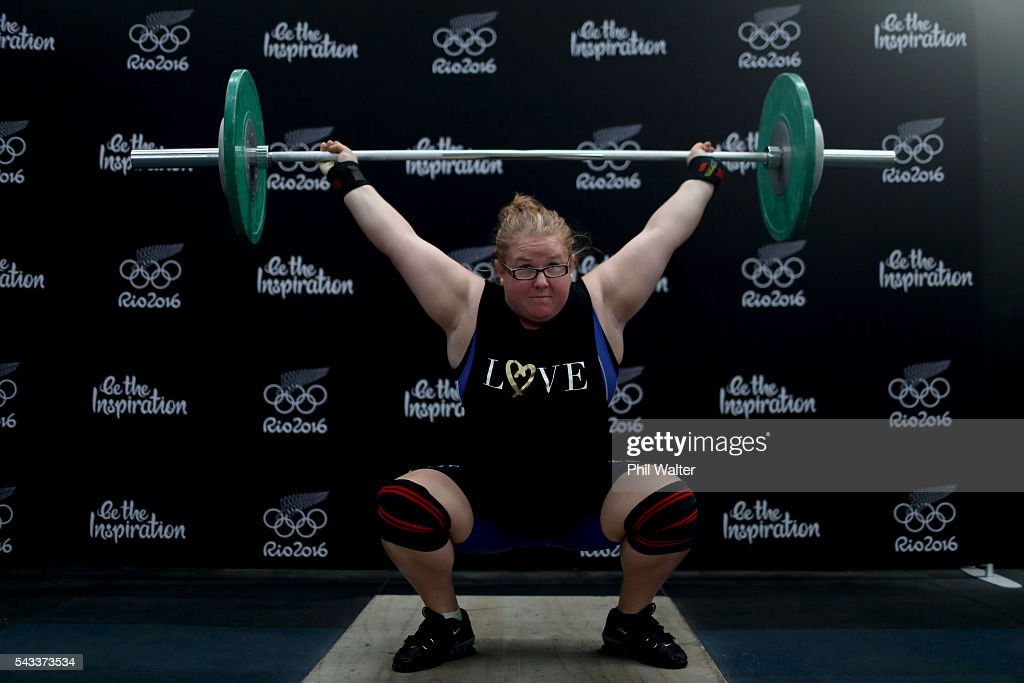 New Zealand Olympic Weightlifter Tracey Lambrechs lifts weights following the New Zealand Olympic Weightlifting Team Selection announcement at Functional Strength HQ on June 28, 2016 in Auckland, New Zealand.