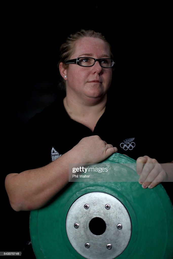New Zealand Olympic Weightlifter Tracey Lambrechs poses for a portrait before the New Zealand Olympic Weightlifting Team Selection announcement at Functional Strength HQ on June 28, 2016 in Auckland, New Zealand.
