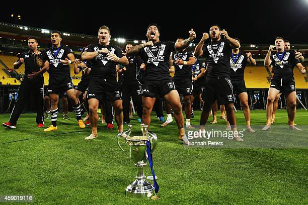 New Zealand perform a haka after winning the Four Nations Final between the New Zealand Kiwis and the Australian Kangaroos at Westpac Stadium on...