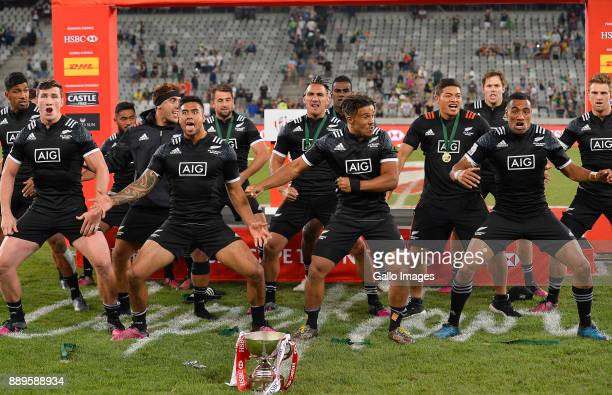 New Zealand perform the haka after winning the 2017 HSBC Cape Town Sevens Cup Final match between New Zealand and Argentina at Cape Town Stadium on...