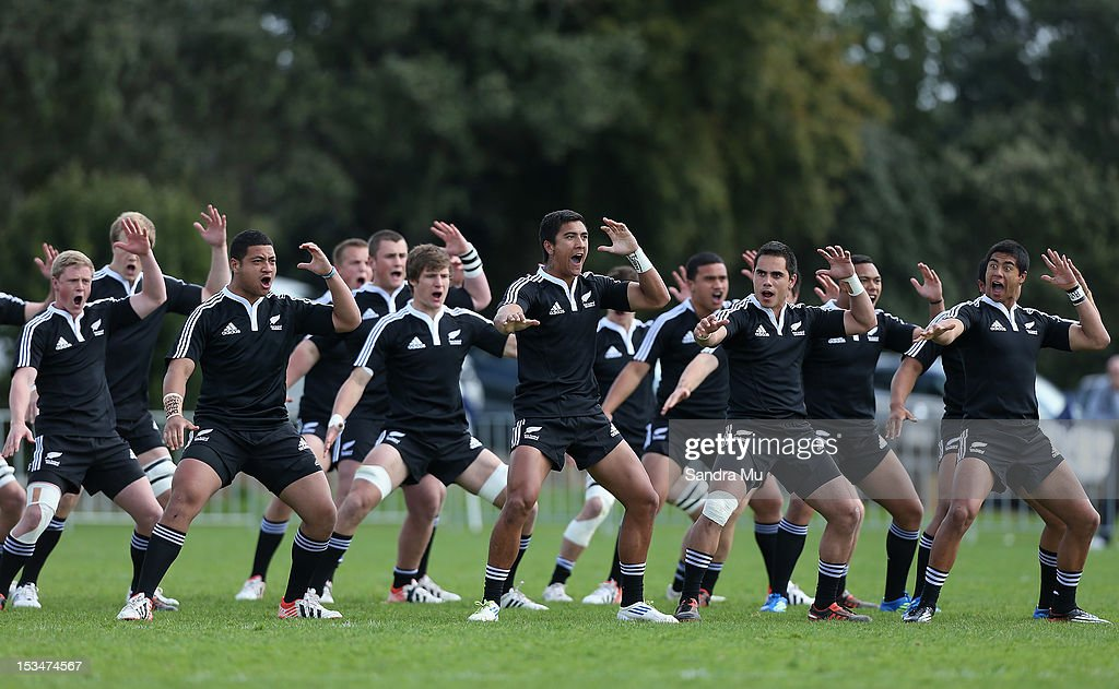 New Zealand perform the Haka before the Test between New Zealand Schools and Australia Schools at Auckland Grammar on October 6, 2012 in Auckland, New Zealand.