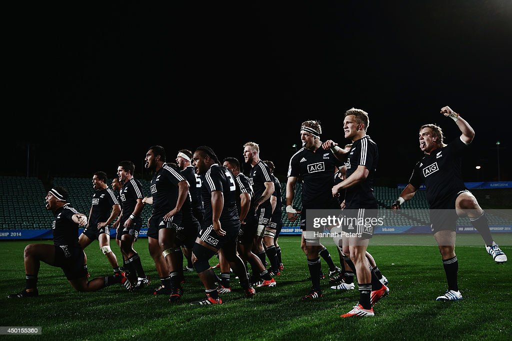 New Zealand perform the haka prior to the 2014 Junior World Championship match between New Zealand and South Africa at QBE Stadium on June 6, 2014 in Auckland, New Zealand.