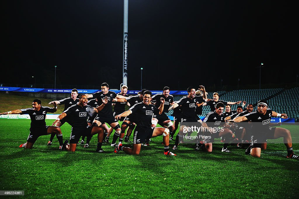New Zealand perform the haka prior to the 2014 Junior World Championships match between New Zealand and Samoa at QBE Stadium on June 2, 2014 in Auckland, New Zealand.