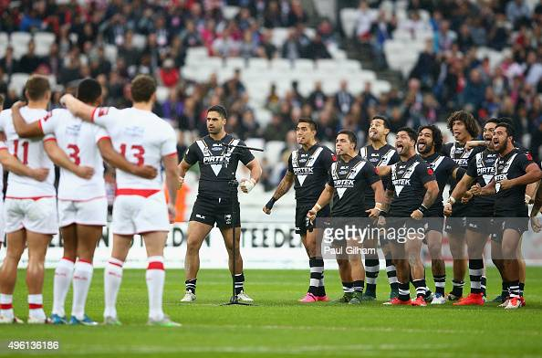 New Zealand perform the Haka prior to the start of the International Rugby League Test Series match between England and New Zealand at the Olympic...