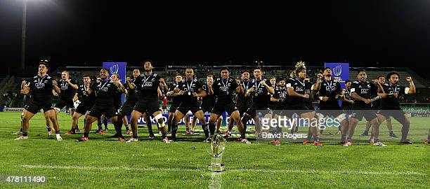 New Zealand perform their Haka after their victory during the World Rugby U20 Championship final match between England and New Zealand at Stadio...