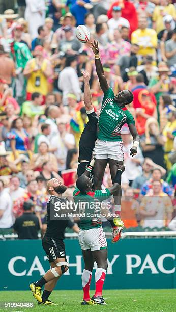 New Zealand play Kenya on day two of the 2016 Hong Kong Sevens at Hong Kong Stadium on April 9 2016 in Hong Kong