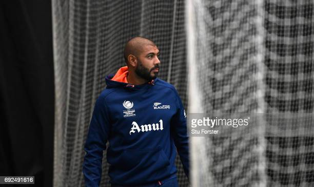 New Zealand player Jeetan Patel looks on during nets at the Swalec Stadium ahead of the ICC Champions Trophy match between England and New Zealand at...