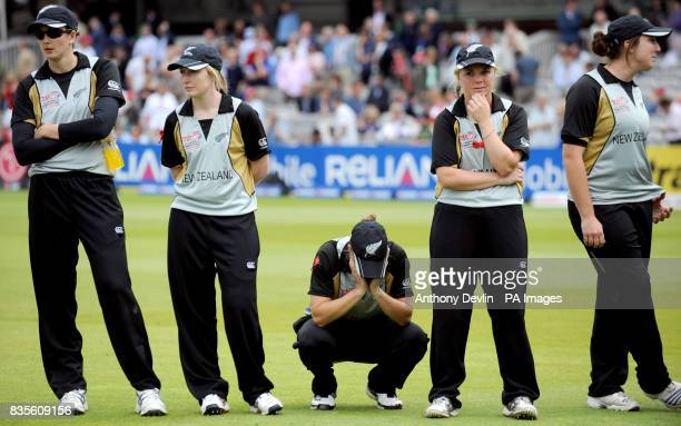 New Zealand players appear dejected after losing to England in the Final of the Women's ICC World Twenty20 at Lords London