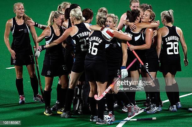 New Zealand players celebrate after defeating South Afria 10 in the Womens Hockey Semi Final Match 24 at Major Dhyan Chand National Stadium on day...