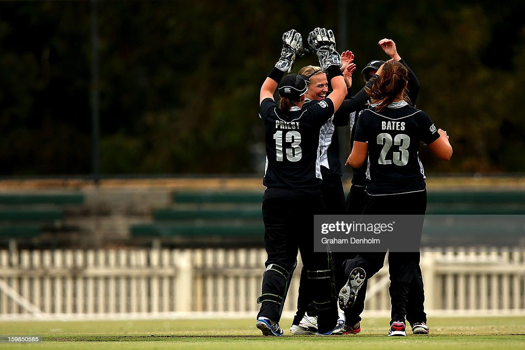 New Zealand players celebrate the dismissal of Lisa Sthalekar of Australia during the Women's International Twenty20 match between the Australian Southern Stars and New Zealand at Junction Oval on January 22, 2013 in Melbourne, Australia.