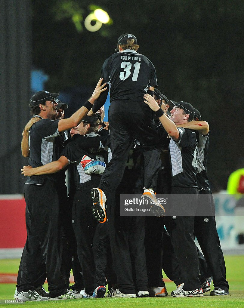 New Zealand players celebrate the series win during the 2nd One Day International match between South Africa and New Zealand at De Beers Diamond Oval on January 22, 2013 in Kimberley, South Africa.