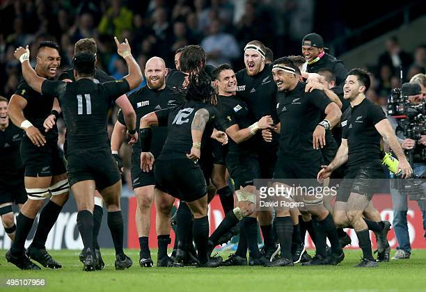 New Zealand players celebrate victory during the 2015 Rugby World Cup Final match between New Zealand and Australia at Twickenham Stadium on October...