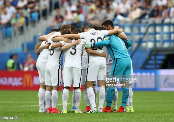 New Zealand players huddle prior to the FIFA Confederations Cup Russia 2017 Group A match between Russia and New Zealand at Saint Petersburg Stadium...