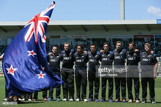 New Zealand players line up for the national anthem uring the One Day International match between New Zealand and Pakistan at McLean Park on February...