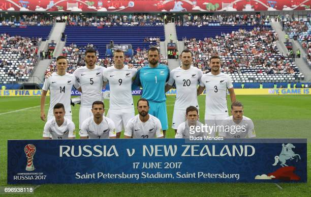 New Zealand players line up for the team photos prior to the FIFA Confederations Cup Russia 2017 Group A match between Russia and New Zealand at...