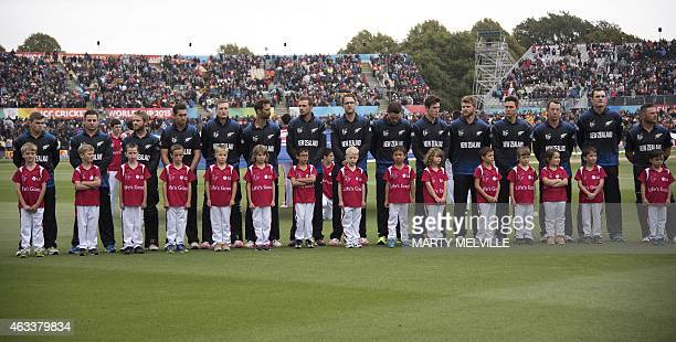 New Zealand players line up for their national anthem during the opening Cricket World Cup one day cricket match between New Zealand and Sri Lanka at...